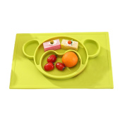 Rely2016 Kids Baby Silicone Placemat Cute Animal Shape Non Slip Divided Plate Trays Meal Mat for Most Highchair Trays