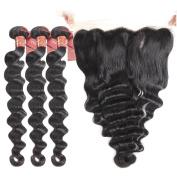Brazilian Loose Wave 3 Bundles with 13 X 4 Free Part Lace Frontal Closure, Unprocessed Human Hair Extensions Brazilian Virgin Hair Weave Natural Black Colour