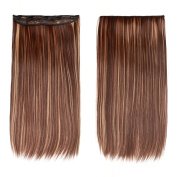 60cm Straight Synthetic Hair Extensions Clip On/in Hairpieces 5 Clips