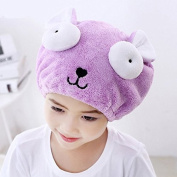 AUCH 1Pcs Adjustable Plush Cute Big Eyes Baby Hair Drying Hat Super Absorbent Towel Adjustable Infant Shower Bath Cap for Kids Boys Girls from 3 to 16 Yrs, Purple