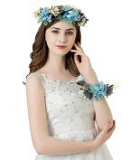 AWAYTR Flower Wreath Headband Floral Crown Garland Halo with Floral Wrist Band for Wedding Festivals