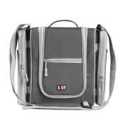 BUBM Multi-Use Bag Travel Hook Hanging Toiletry Bag Organiser Or Bathroom Storage Bag With Removable Side Compartments Versatile Bag - Grey