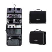 BAGSMART Hanging Travel Toiletry Bag Carry-on Makeup Organiser Folding Cosmetic Bag for Women and Men, Black + Grey