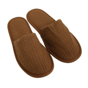 Waffle Closed Toe Adult Slippers Cloth Spa Hotel Unisex Slippers for Women and Men Dark Chocolate