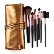 Rioa 7Pcs Professional Travel Cosmetic Makeup Make Up Brushes Set with Pouch Bag Case Purplet