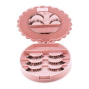 Iusun Cute Bow False Eyelash Case Box Makeup Cosmetic Mirror Case Organiser Storage