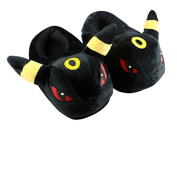 Unisex Wanziee Pokemon Umbreon Plush Slippers - Pokemon Go- Umbreon Animal Cosplay (Black and Yellow) - One size slippers for Dress Up Cartoon Party Halloween for adults/girls/boys