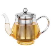 Kabalo 750ml Modern Contemporary . Clear Glass & Stainless Steel Teapot with Loose Tea Leaf Infuser Kitchen Filter