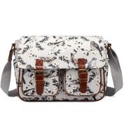 Miss Lulu Messenger Bag School Satchel Bookbag Oilcloth Grey Bird Flower Cross-body Bags Handbag