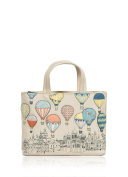 Real Leather Ladies Yoshi Hot Air Ballons Amongst The Clouds Grab Bag in cream
