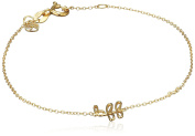 """Shy By Sydney Evan Sterling Silver Yellow Gold Plated """"Bff"""" Bracelet with Diamond Bezel of 17.145cm"""