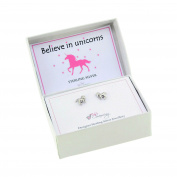 925 Sterling Silver Unicorn Stud Earrings Gift Boxed