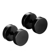 Aituo Unisex Cool 2Pcs Punk Gothic Stainless Steel Round Screw Mens Barbell Ear Studs Earrings Combination