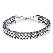 Ilove EU Men's Stainless Steel Bracelet Link Wrist Silver Double Chain Lobster Clasp Bikers Biker