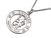 Chelsea FC Mens Jewellery Sterling Silver Crest Pendant Chain Embossed Gift Box