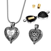 ZCBRISK Always in My Heart Flower Cremation Ashes Locket Necklace Urns Pendant Memorial Keepsake Jewellery
