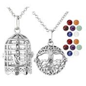 JSDDE 7 Chakra 8mm Gemstone Healing Crystal Ball Reiki Locket Pendant Necklace