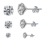 YAN & LEI Sterling Silver Ear Studs Set of 3 with Crystal in 4,6,8 mm