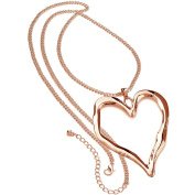 Ladies rose gold 96 cm long curb chain very large chunky heart pendant fashion costume jewellery necklace