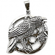 Solid Sterling Silver Raven Crow Wicca Pentagram Talisman Pendant P069