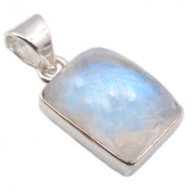 Rainbow moonstone sterling silver pendant - Stone size 10x14mm