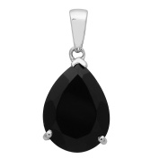 925 Sterling Silver Pear Cut Black Spinel Dangle Pendant