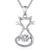 Sterling Silver Diamond Cat Pendant Necklace, Dancing CZ Diamond Cat Necklace, Moving Diamond Cat Pendant, Cute Cat Necklace For Women Girl, 46cm Silver Necklace