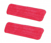 Hosaire 2 Pcs Red Mop Refill Mop Replacement Cleaning Pads Reveal Mop Household Mop Microfiber Sticky Button Dust Pad 14.5x43cm