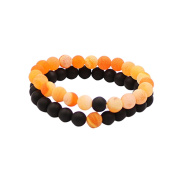 Couples His and Hers Bracelet Black Matte Agate & Colourful Weathering Scrub Agate 8mm Beads By UEUC
