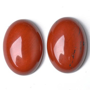 1 x Red Jasper 18 x 25mm Oval-Shaped Flat-Backed Cabochon - (CA16636-6) - Charming Beads