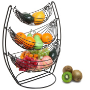 3 Tier Black Triple Hammock Fruit / Vegetables / Produce Metal Basket Rack Display Stand - MyGift