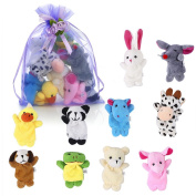 Biging 10 Pieces Finger Puppets Cloth Plush Doll Baby Educational Hand Cartoon Animal Toys