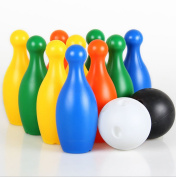 Bowling Set with 10 Platisc Skittles 2 Balls Large Size Indoor Outdoor Garden Lawn Party Game Toy for Kids . Old