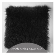 Q.KIM Deluxe Home Decorative Super Soft Plush Mongolian Faux Fur Throw Pillow Cover Cushion Case