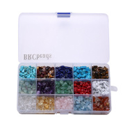 Gemstone beads, BRCbeads Natural Chips Irregular 15 Colour Assorted Box Set Loose Beads 7~8mm Crystal Energy Stone Healing Power for Jewellery Making