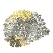 HanYan Beads Spacer Tibetan Silver,Gold Mixed Charms 80 grammes 6-8 mm 200+Pcs Spacer Beads for Jewellery Making