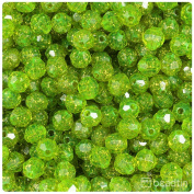 BEADTIN Lime Roe Gold Sparkle 8mm Faceted Round Craft Beads