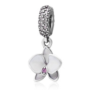 925 Sterling Silver Flower charm Orchid Charm Lucky Charm Anniversary Charm Birthday Charm for Pandora Charms Bracelet