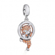 925 Sterling Silver Cat Charm Pet Charm Animal Charm Lucky Charm Christmas Charm for Pandora Charms Bracelet