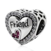 925 Sterling Silver Heart Charm Friend Charm Friendship Charm Anniversary Charm Christmas Charm for Pandora Charms Bracelet