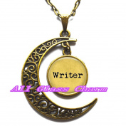 Delicate Moon Necklace,Crescent Moon Jewellery,WRITER - Gift for Writer - Writer Pendant Necklace - Author - Love to Write - Writing Jewellery