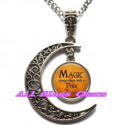 Delicate Moon Necklace,Crescent Moon Jewellery,Halloween Costume Jewellery - Magic always comes with a Price Dearie - Quote - Magic Spell