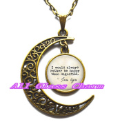 """Delicate Moon Necklace,Crescent Moon Jewellery,Quote """"I would always rather be happy than dignified."""" Book Jewellery"""