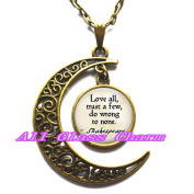 """Delicate Moon Necklace,Crescent Moon Jewellery,Quote """"Love all, trust a few, do wrong to none."""" Quote Necklace"""