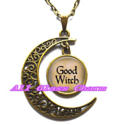 Delicate Moon Necklace,Crescent Moon Jewellery,GOOD WITCH Pendant Necklace - Witch Jewellery - Enchantress - Bad Witch - the Good Witch