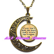 Delicate Moon Necklace,Crescent Moon Jewellery,Quote Pendant Necklace - If you can't take the heat, don't tickle the dragon - Dragon Jewellery - Dragon Lover Gift - Dragon Quote
