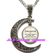 """Delicate Moon Necklace,Crescent Moon Jewellery,Wonderland Quote """"Imagination is the only weapon in the war against reality."""" - Cat Quote - White Rabbit Charm"""