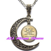 """Delicate Moon Necklace,Crescent Moon Jewellery, Quote""""No one can make you feel inferior without your consent."""" Inspirational Gift - Inspiring"""