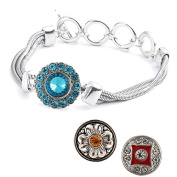 Ginooars Pack of 2 Adjustable Snap Bracelet/Wristband Fit for Ginger Snap Charms 18-20mm
