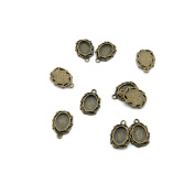 Price per 20 Pieces Jewellery Making Supply Charms Findings Filigrees E6GU2R Oval Cabochon Frame Blanks 8x6MM Antique Bronze Findings Beading Craft Supplies Bulk Lots